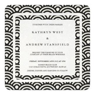 Black + White Stylized Waves Modern Beach Wedding Card