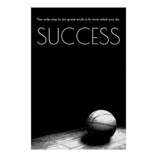Black White Success Motivational Basketball Poster