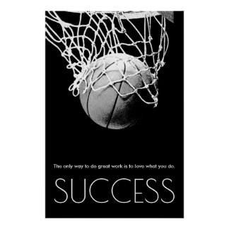Black White Success Motivational Basketball Trendy Poster