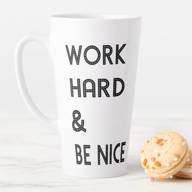 Black White Success Work Hard Quote Latte Mug Zazzle Com