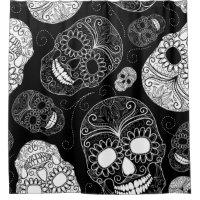 Black & White Sugar Skull Heads Shower Curtain
