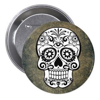 Black & White Sugar Skull Slate Button