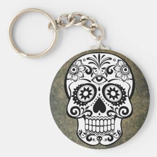 Black & White Sugar Skull Slate Button Keychain