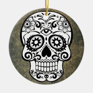 Black & White Sugar Skull Slate Ornament Round
