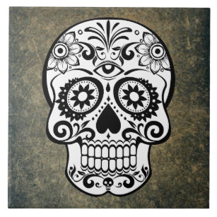 Black And White Sugar Skulls Decorative Ceramic Tiles Zazzle