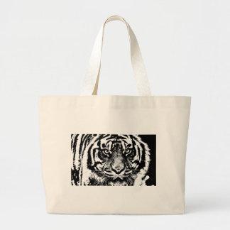 Black White Sumatran Borneo Tiger Eye Artwork Large Tote Bag
