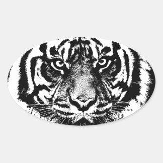 Black White Sumatran Borneo Tiger Eye Artwork Oval Sticker