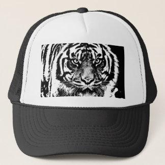Black White Sumatran Borneo Tiger Eye Artwork Trucker Hat