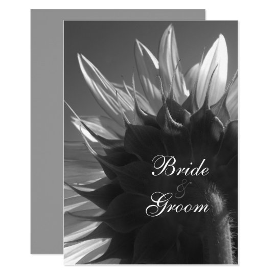 Black White Summer Garden Sunflower Wedding Invite