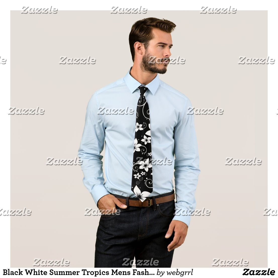 Black White Summer Tropics Mens Fashion Necktie