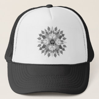 Black white sun paisley mandala trucker hat