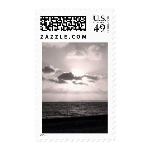 Black & White Sunbeams Postage Stamp