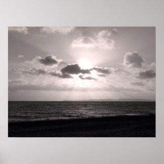 Black & White Sunbeams Poster