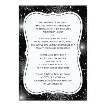 Black White Sunbursts Fireworks Reception Only Invitation