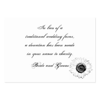 Black White Sunflower Wedding Charity Favor Card