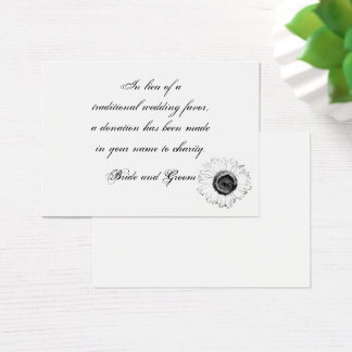 Black White Sunflower Wedding Charity Favor Card