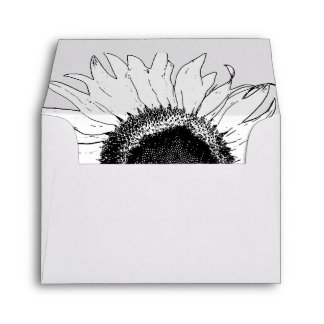 Black & White Sunflower Wedding RSVP Card Envelope