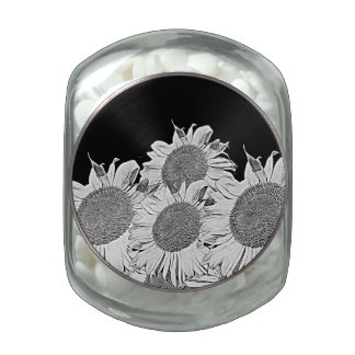 Black&White Sunflowers Jelly Belly Candy Jar