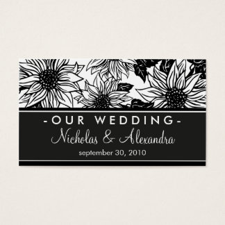 Black & White Sunflowers Wedding Website Card