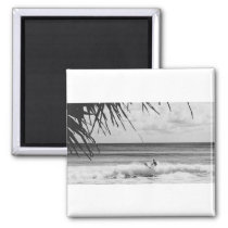 Black & white surfer magnet