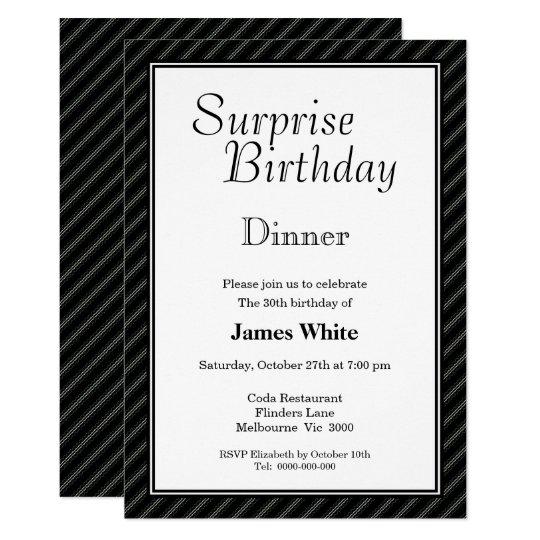 Black & White Surprise 30th Birthday Dinner Invitation