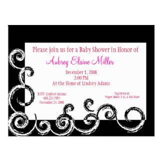 Black & White Swirl Baby Shower Invitation Postcard
