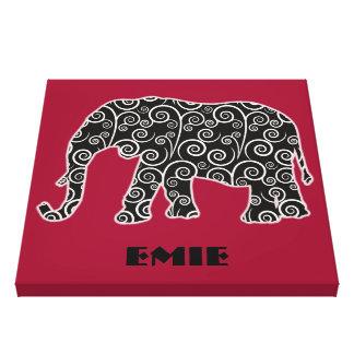 Black White Swirl Elephant on Red Canvas Print