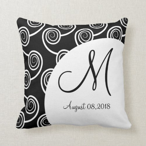 Black White Swirl Monogram Wedding Keepsake Pillow