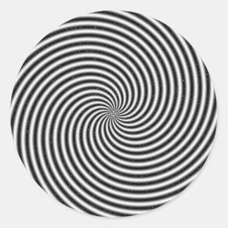 Black White Swirl Optical Illusion Round Sticker