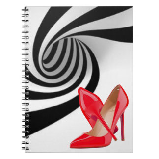 Black White Swirl Pattern Print Red High Heels Spiral Notebook