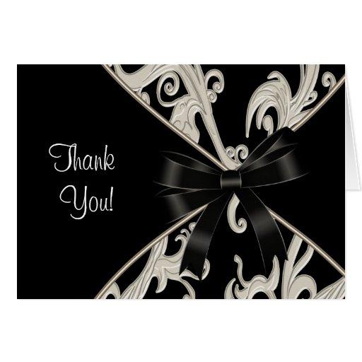 Black White Swirl Thank You Cards
