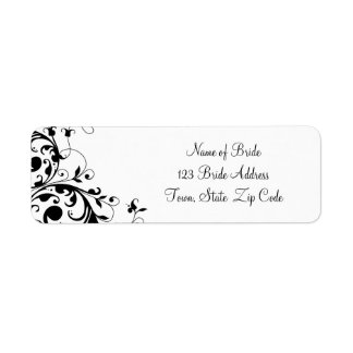 Black White Swirl Wedding Return Address Label