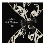 Black White Swirl Womans 40th Birthday Party Personalized Invite