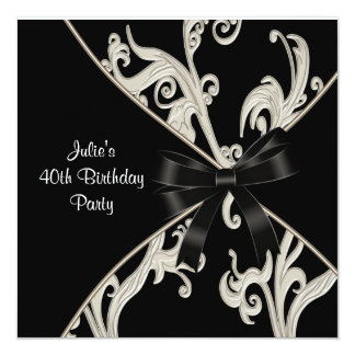 Black White Swirl Womans 40th Birthday Party Invitation