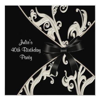 Black White Swirl Womans 40th Birthday Party Invitation