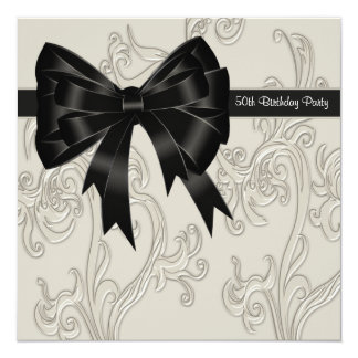 Black White Swirl Womans 50th Birthday Party 5.25x5.25 Square Paper Invitation Card