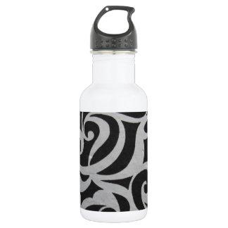 Black & White Swirley 18oz Water Bottle