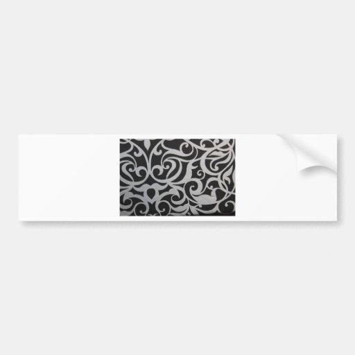 Black & White Swirley Car Bumper Sticker