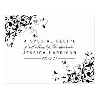 Black & White Swirls Bridal Shower Recipe Cards