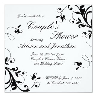 Black White Swirls Couple's Shower Invitation