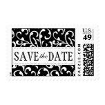 Black White Swirls Damask Save the Date Postage