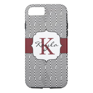 Black & White Swirls Marsala Monogram iPhone 8/7 Case