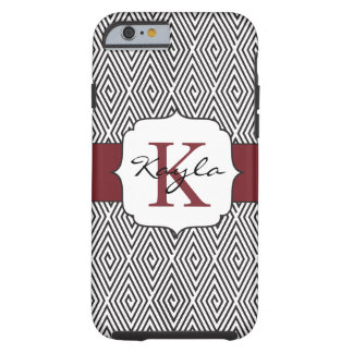 Black & White Swirls Marsala Monogram Tough iPhone 6 Case