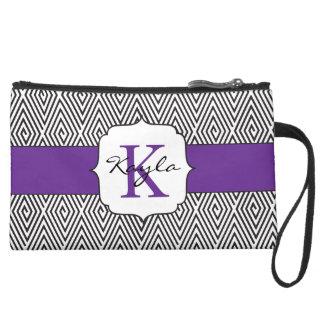 Black & White Swirls Purple Monogram Suede Wristlet Wallet