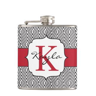 Black & White Swirls Red Monogram Flask
