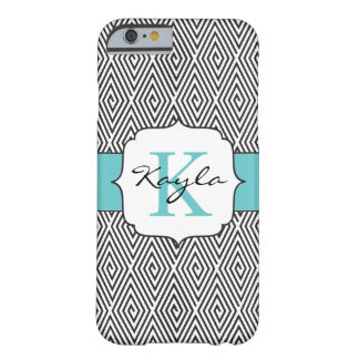 Black & White Swirls Robins Egg Blue Monogram Barely There iPhone 6 Case