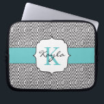 "Black &amp; White Swirls Robins Egg Blue Monogram Laptop Sleeve<br><div class=""desc"">Design By Christy A. Leonard &#169; 2014.</div>"