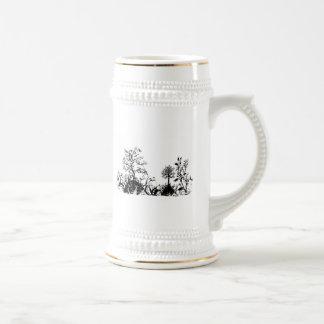 Black & White Swirly Landscape Trees Fruit Hills Beer Stein