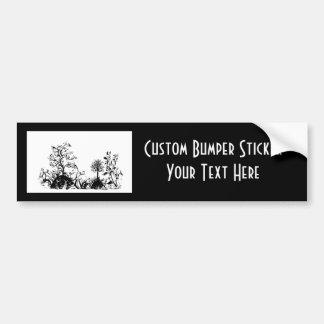 Black & White Swirly Landscape Trees Fruit Hills Car Bumper Sticker