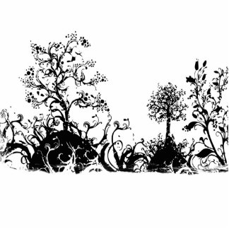 Black & White Swirly Landscape Trees Fruit Hills Cutout